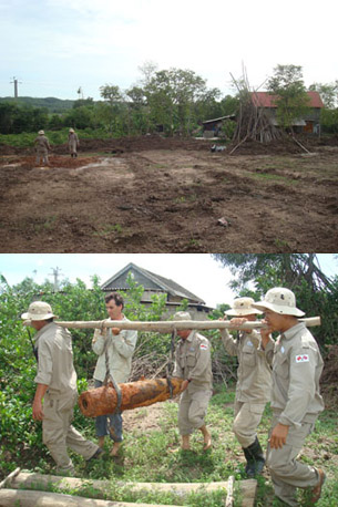 Team is excavating the bomb spot (top) and the Mk81 is being removed for later destruction